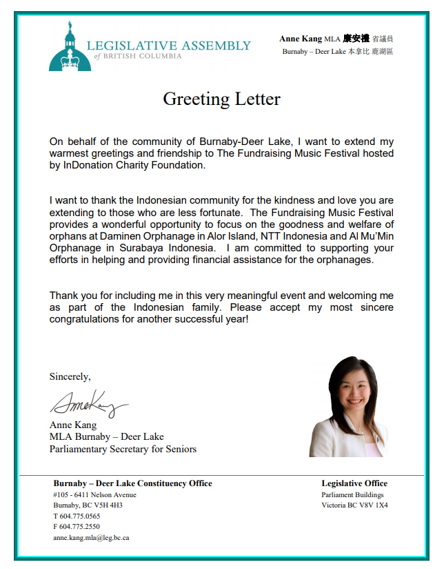 Greeting Letter from Burnaby MLA